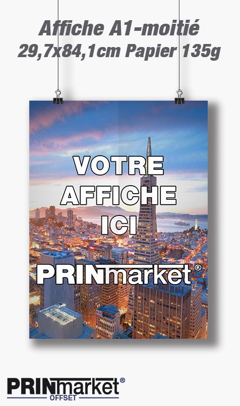 Affiche A1-Moitié 29,7 cm X 84,1 cm Papier 135g