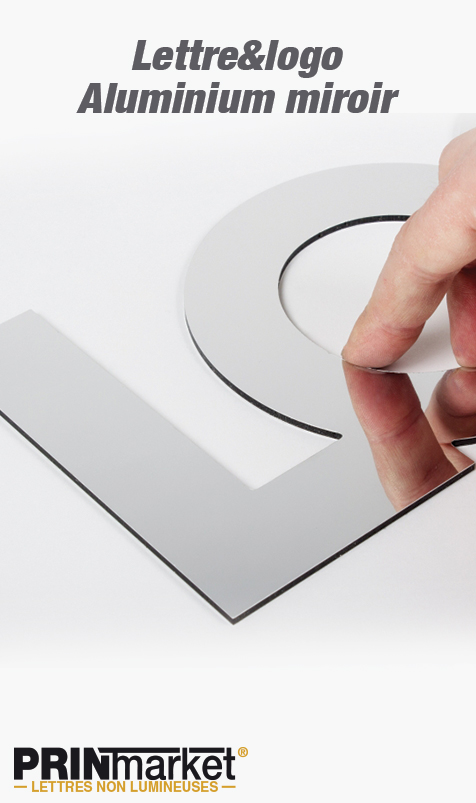 Lettre&logo Aluminium miroir<br />3 mm