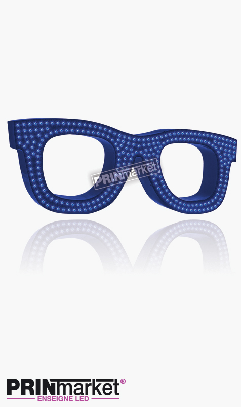 Lunettes LED Rayban Wayfarer, Acier Bleu, Leds Bleues