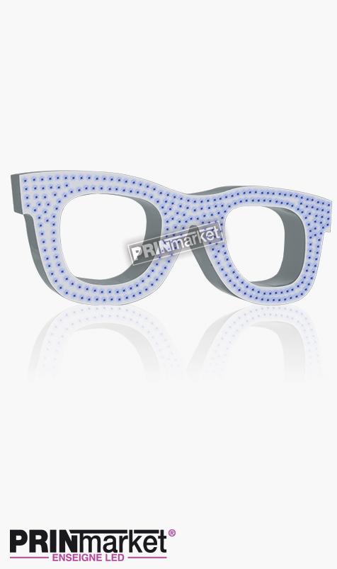 Lunettes LED Rayban Wayfarer, Acier Blanc, Leds Bleues
