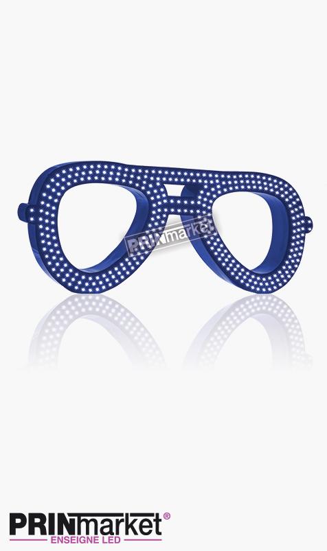 Lunettes LED Rayban Aviator, Acier Bleu, Leds Blanches