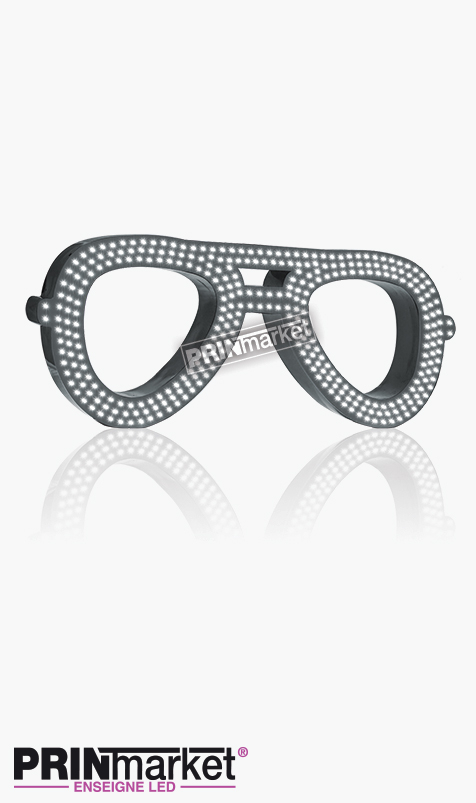 Lunettes LED Rayban Aviator, Acier Gris Anthracite, Leds Blanches