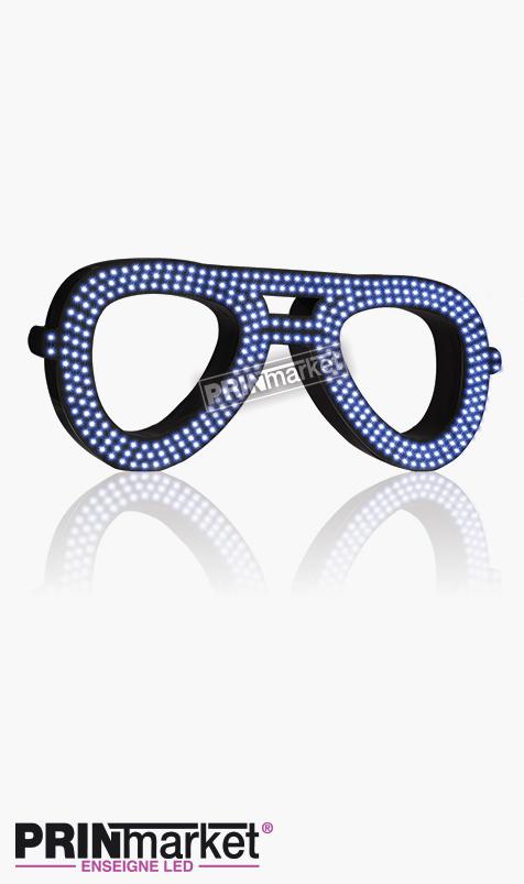 Lunettes LED Rayban Aviator, Acier Noir, Leds Bleues