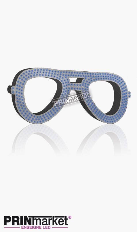 Lunettes LED Rayban Aviator, Acier brossé, Leds Bleues