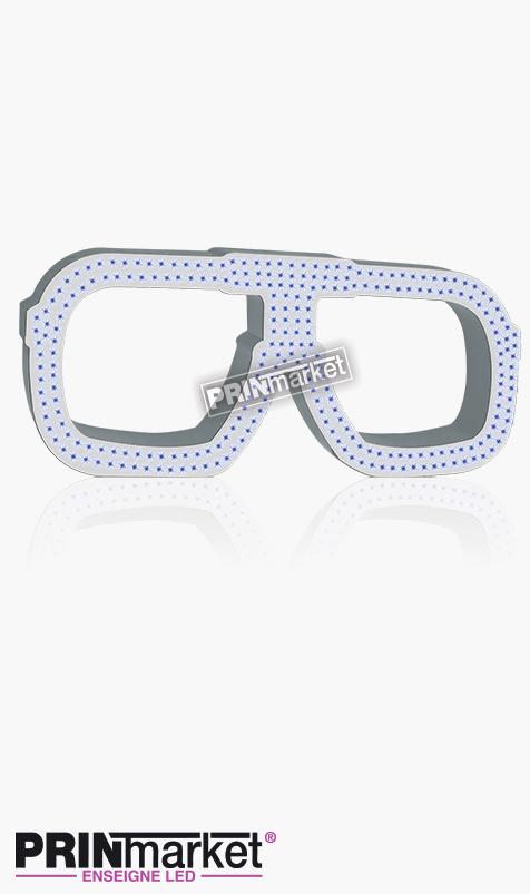 Lunettes LED Carrera carré, Acier Blanc, Leds bleues