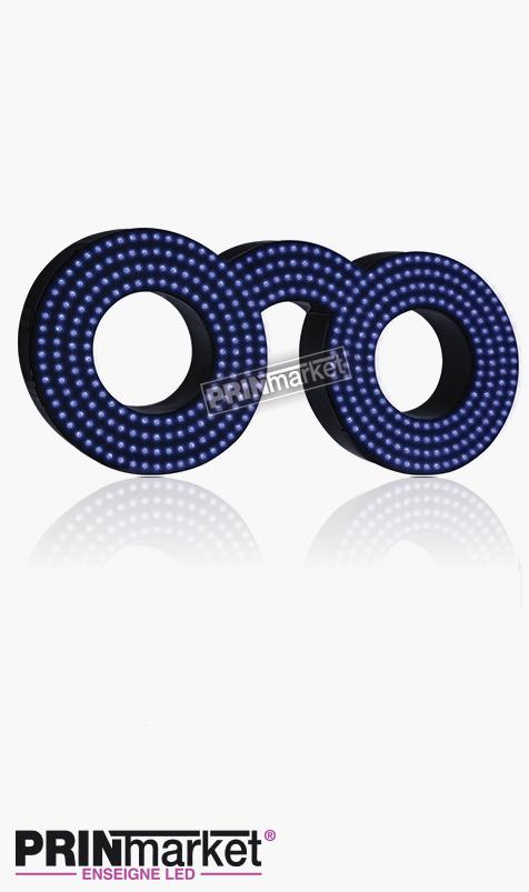 Lunettes LED Classic Ronde, Acier Noir, Leds Bleues