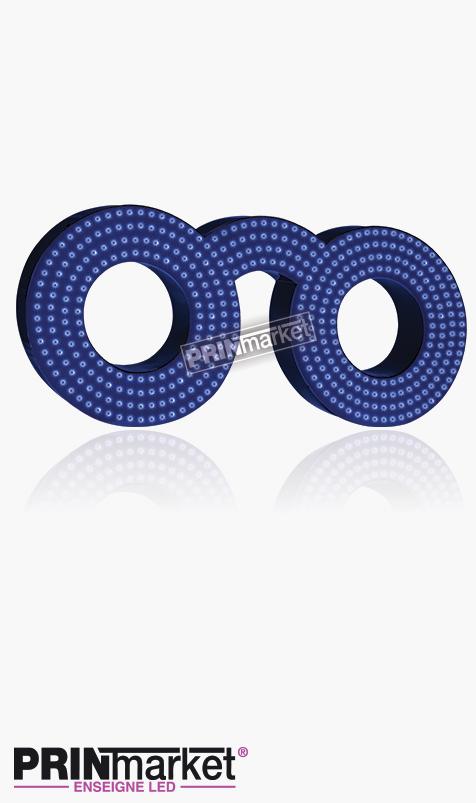 Lunettes LED Classic Ronde, Acier Bleu, Leds Bleues