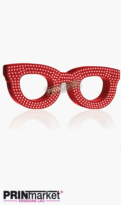 Lunettes LED Rayban Clubmaster, Acier Rouge, Leds Blanches