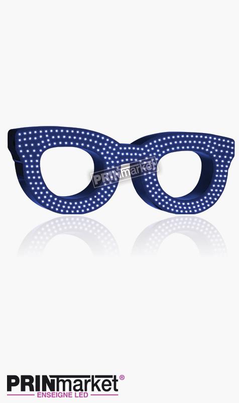 Lunettes LED Rayban Clubmaster, Acier Bleu, Leds Blanches