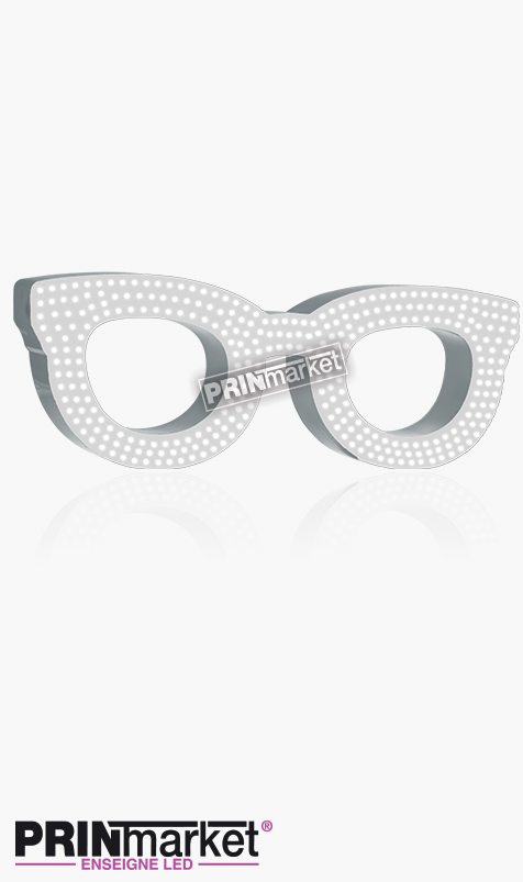 Lunettes LED Rayban Clubmaster, Acier Blanc, Leds Blanches