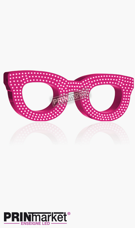 Lunettes LED Rayban Clubmaster, Acier Rose, Leds Blanches