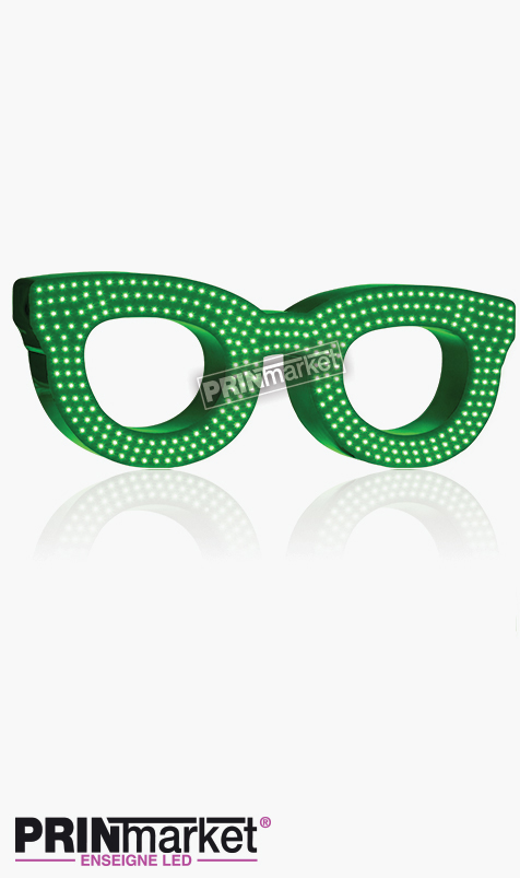 Lunettes LED Rayban Clubmaster, Acier Vert,Leds Blanches