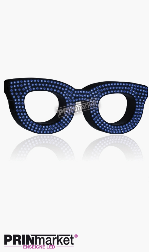 Lunettes LED Rayban Clubmaster, Acier Noir, Leds Bleues
