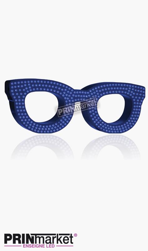 Lunettes LED Rayban Clubmaster, Acier Bleu, Leds Bleues