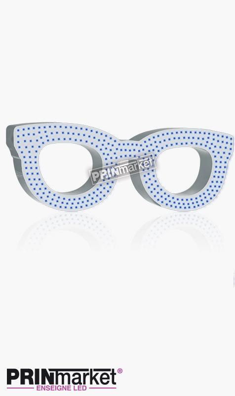 Lunettes LED Rayban Clubmaster, Acier Blanc, Leds Bleues
