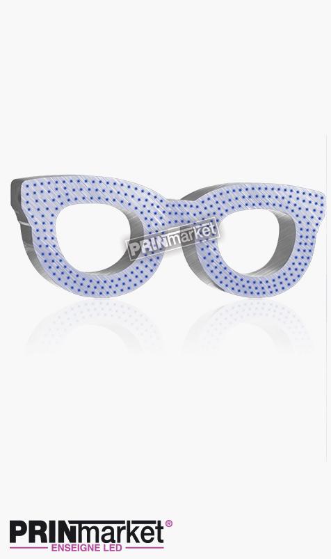 Lunettes LED Rayban Clubmaster, Acier brossé, Leds Bleues