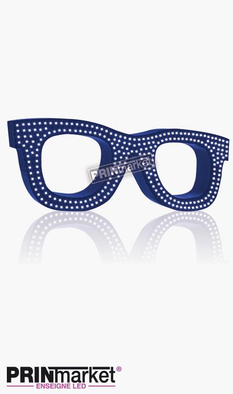 Lunettes LED Rayban Wayfarer, Acier Bleu, Leds Blanches