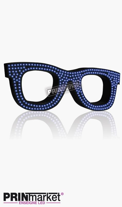 Lunettes LED Rayban Wayfarer, Acier Noir, Leds Bleues