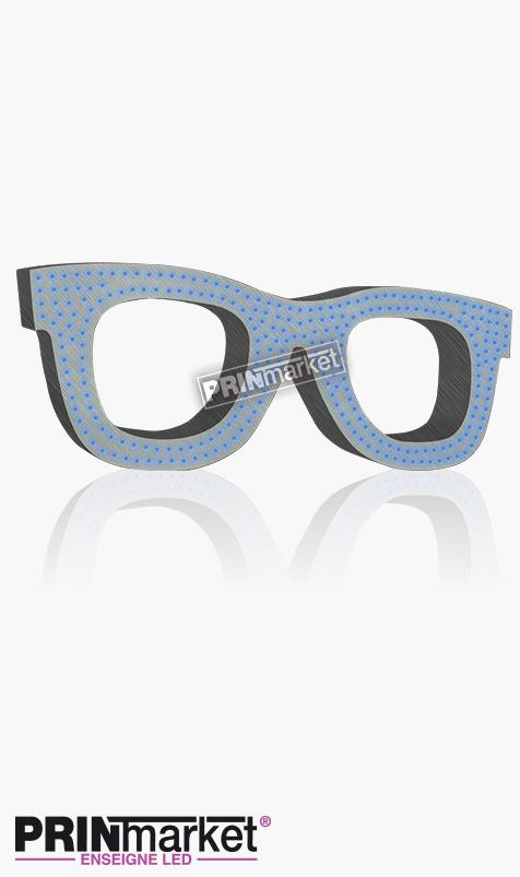 Lunettes LED Rayban Wayfarer, Acier brossé, Leds Bleues