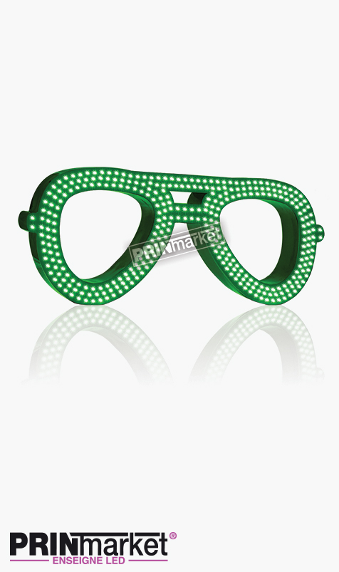 Lunettes LED Rayban Aviator, Acier Vert,Leds Blanches