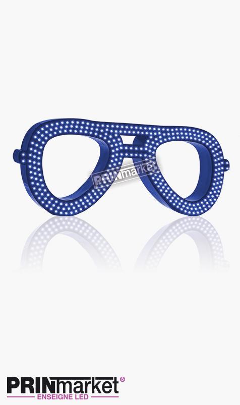 Lunettes LED Rayban Aviator, Acier Bleu, Leds Bleues