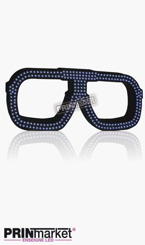 Lunettes LED Carrera carré, Acier Noir, Leds Bleues