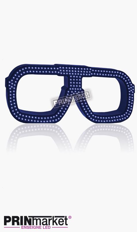 Lunettes LED Carrera carré, Acier Bleu, Leds bleues