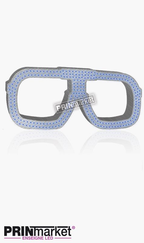 Lunettes LED Carrera carré, Acier brossé, Leds bleues