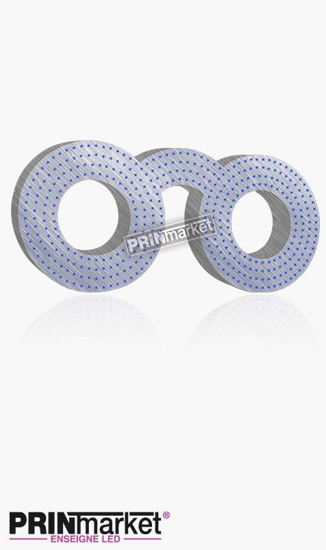 Lunettes LED Classic Ronde, Acier brossé, Leds Bleues