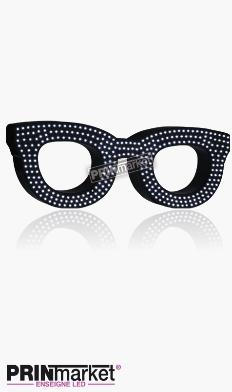 Lunettes LED Rayban Clubmaster, Acier Noir, Leds Blanches