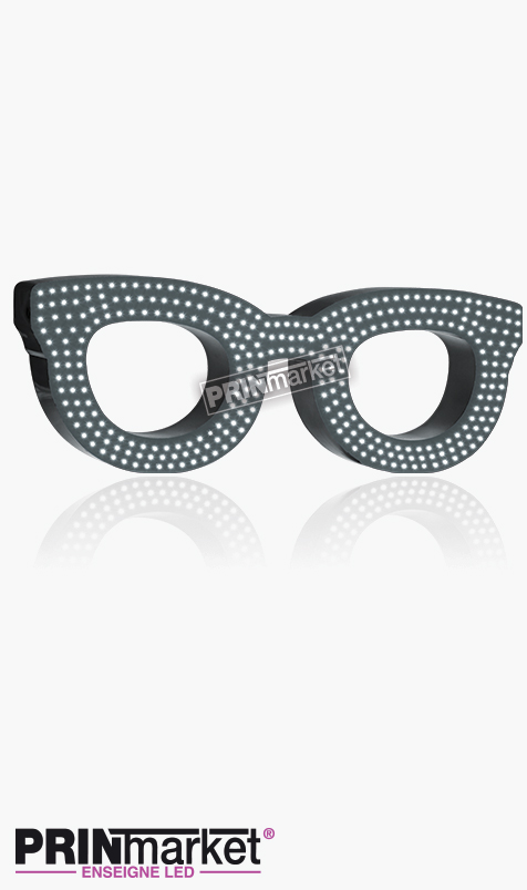 Lunettes LED Rayban Clubmaster, Acier Gris Anthracite, Leds Blanches