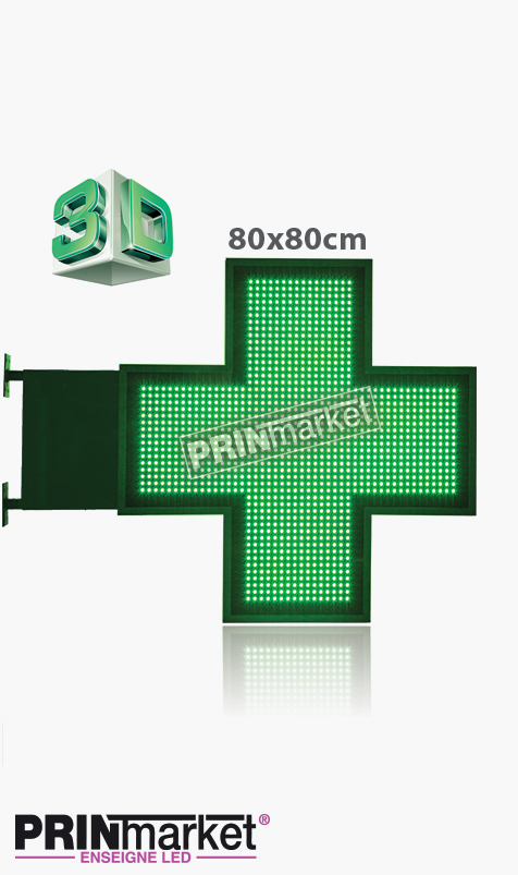 Croix de Pharmacie 3D 80 cm