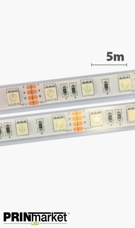 Ruban LED - 5 mètres - Étanche IP67 (extérieur) - 72 watts (14,4 w/m) - 60 LED 5050/m