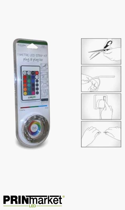 Kit Ruban LED Multicolore - 1 mètre - 14,4 watts- Non-étanche - Transformateur inclus