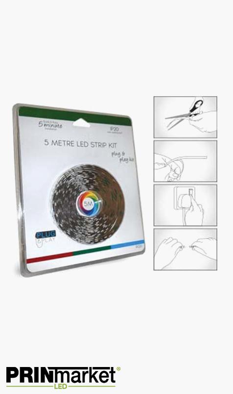 Kit Ruban LED Multicolore - 5 mètres - 72 watts (14,4 w/m) - Non-étanche - Transformateur inclus