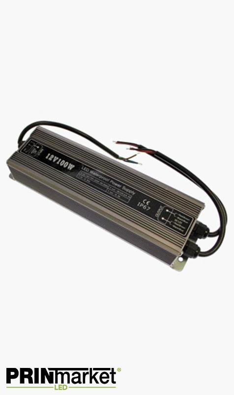 Transformateur LED 12V - 100 watts - Non dimmable - Étanche IP67