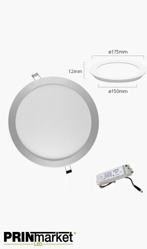 Kit Plafonnier LED Extra-plat rond - 12 watts (équiv. 80W) - Diam. 175 mm