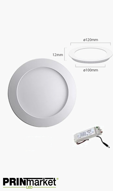 Kit Plafonnier LED Extra-plat rond - 6 watts (équiv. 40W) - Diam. 120 mm